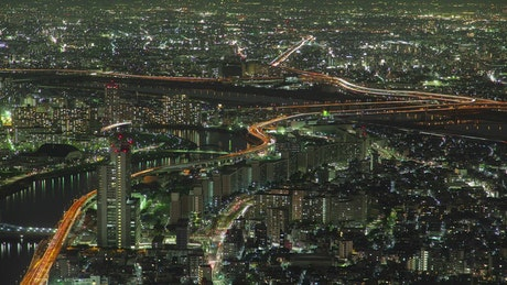 Time lapse of the Tokyo cityscape at night