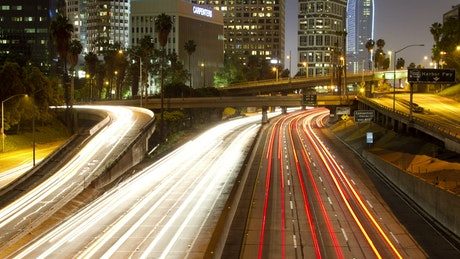 Time lapse of traffic at night