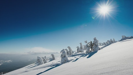 Time lapse on a snowy mountain