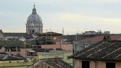 Timelapse across city rooftops
