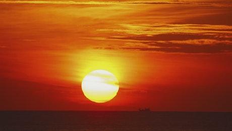 Timelapse of a red sunset landscape