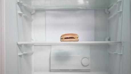 Timelapse of man putting groceries in fridge