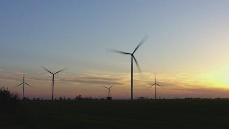 Timelapse of wind turbines