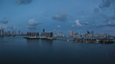 Timelapse over a bay in Miami