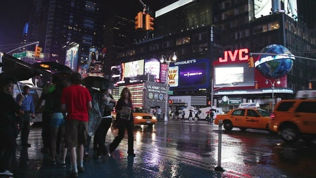 Times Square during a rainy night