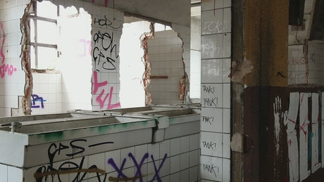 Toilet block in an abandoned building