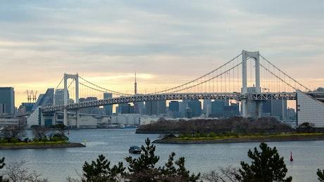 Tokyo bridge and river time lapse