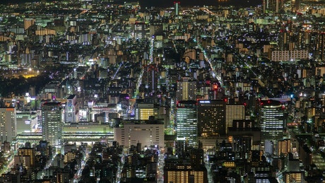 Tokyo buildings at night time lapse