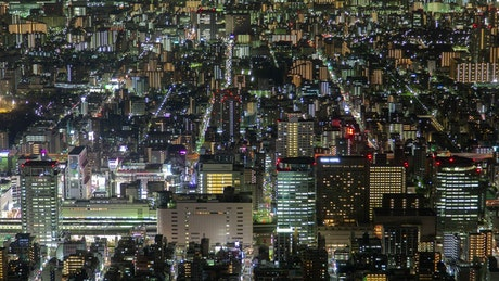 Tokyo cityscape and streets by night