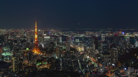 Tokyo cityscape at night, aerial shot
