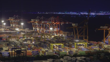 Tokyo containerport at night