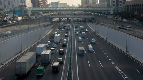 Tokyo road with traffic time lapse