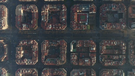 Top aerial shot of Barcelona city