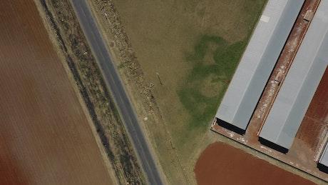 Top aerial shot of nursery gardens