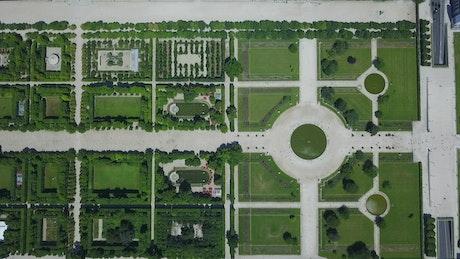 Top aerial shot of Paris Tuileries Garden