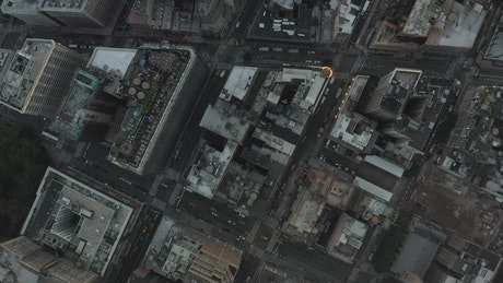 Top aerial shot of the rooftops of the city