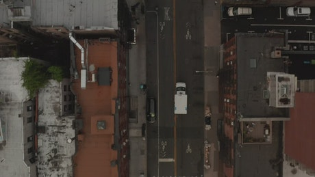 Top aerial tracking shot of an ambulance