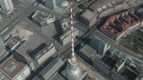 Top of the Alexanderplatz TV Tower, aerial
