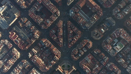 Top shot of Barcelona city, aerial shot