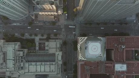 Top shot of buildings and blocks in Los Angeles