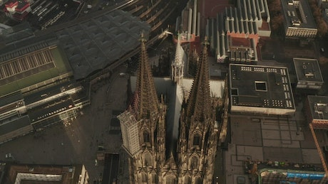 Top view of the architectural design of a cathedral