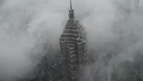 Top view of the Jin Mao Tower in Shanghai