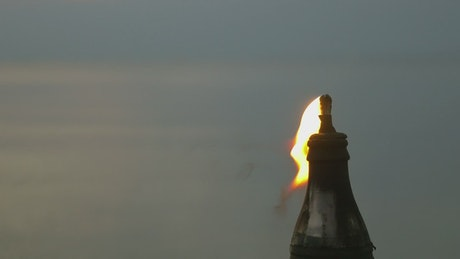 Torch burning in the evening