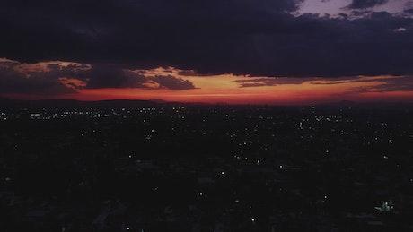 Tour high above a city at dusk