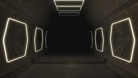 Tour through the corridors of an intergalactic ship