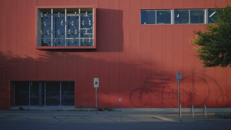 Touring the facade of a large bike shop
