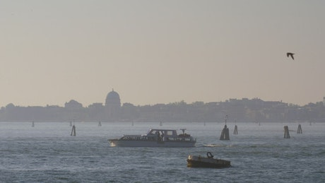 Tourist boat heading by Venice