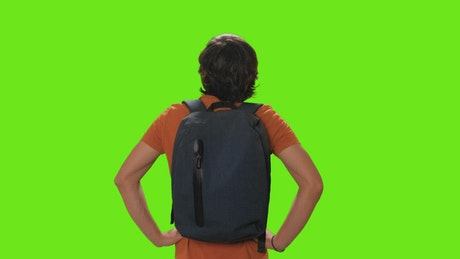 Tourist from behind appreciating the view on a chroma key background