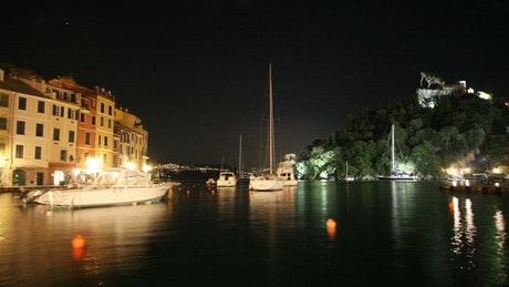 Tourist port in France at night