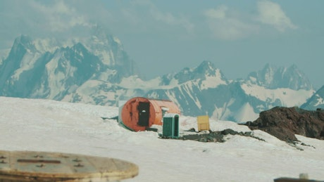 Tourist shelter on a snowy mountain