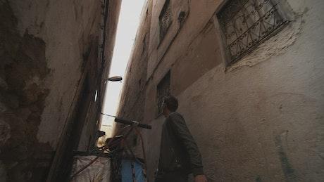 Tourist walking through the corridors in Morocco