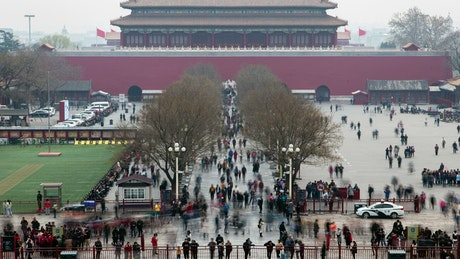 Tourists in the forbidden city in Beijing