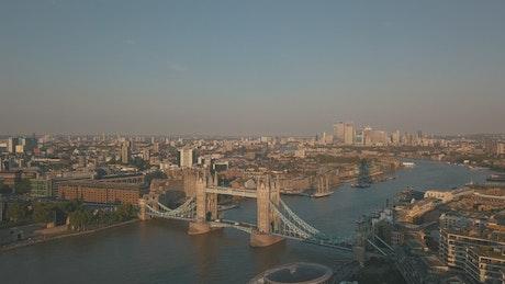 Tower Bridge in London, aerial shot
