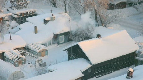 Town houses covered in snow