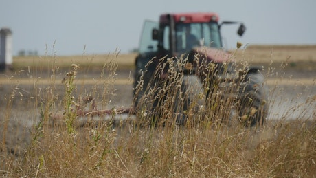 Tractor working on the agricultural field