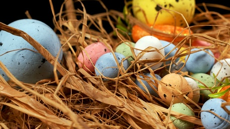 Traditional easter decoration with colorful eggs