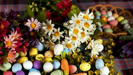 Traditional easter eggs with flowers