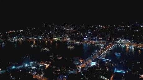 Traffic heading across the Galata Bridge at night