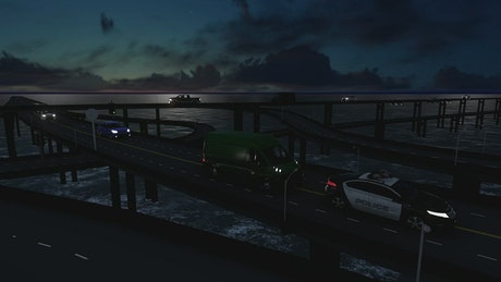 Traffic in a bridge over the sea at night, 3D