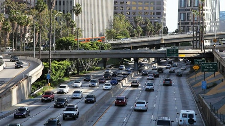 Traffic in a city's avenues and bridges