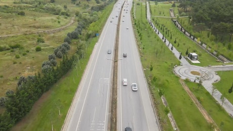 Traffic in a two-way highway, aerial view