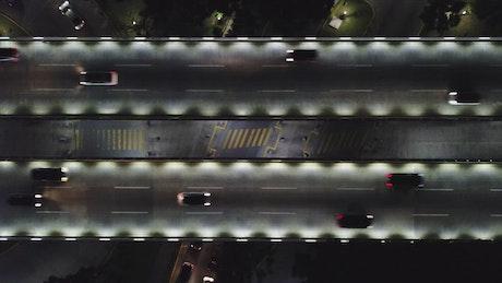 Traffic on a bridge at night