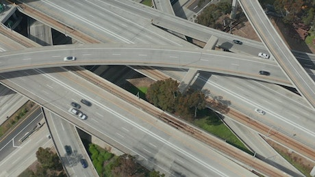 Traffic on avenues and bridges, top aerial shot