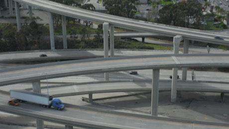 Traffic on bridges and freeways, close up