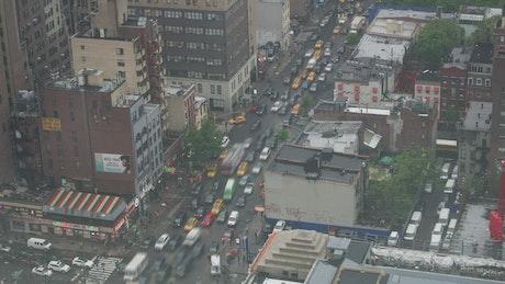 Traffic on Manhattan avenues, static upper view
