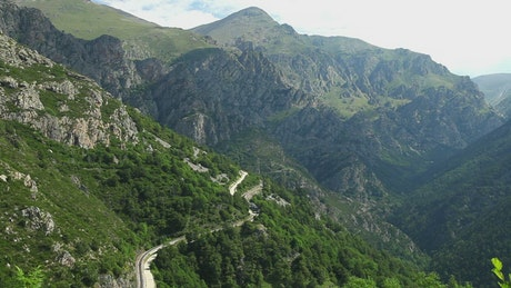 Train going through a mountainous valley